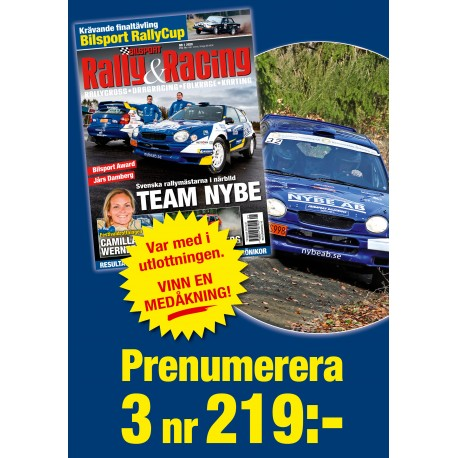 3 nr Bilsport Rally&Racing 219 kr + var med i utlottningen av medåkning!